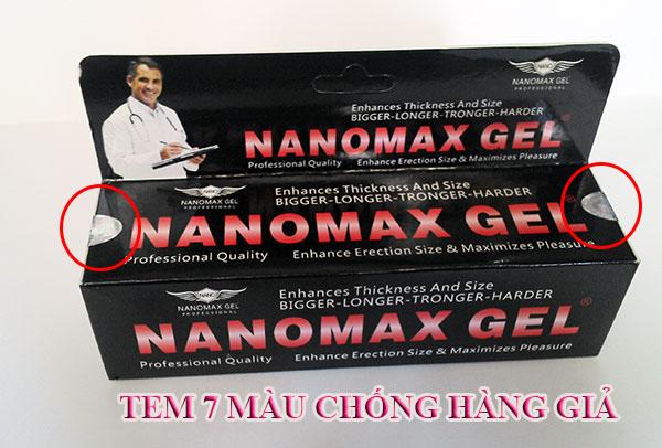 sản phẩm gel nanomax tăng kích thước dương vật